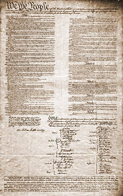 United States Constitution Poster by Photo Researchers