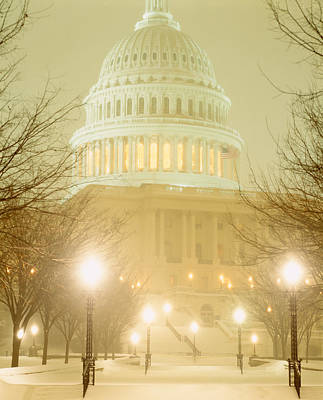 Us Capitol Building Illuminated Poster by Panoramic Images