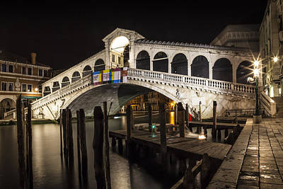 Venice Rialto Bridge At Night Poster by Melanie Viola
