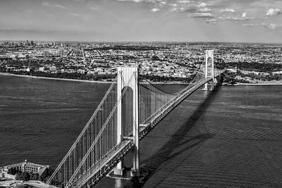 Verrazano Narrows Bridge Aerial View Poster by Susan Candelario
