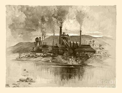 Vintage Antique Bethlehem Steel Factory Poster by John Stephens