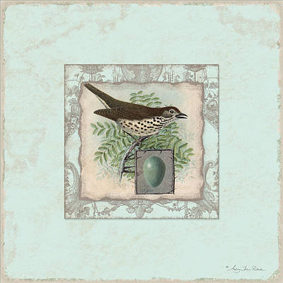 Welcome To Our Nest - Vintage Bird W Egg Poster by Audrey Jeanne Roberts