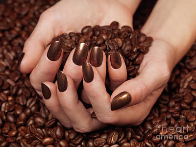 Woman Holding Coffee Beans In Her Hands Poster by Oleksiy Maksymenko