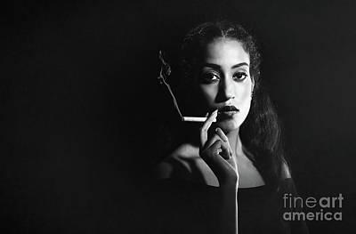 Woman Smoking Poster by Amanda Elwell