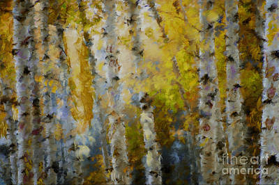 Yellow Aspens Poster by Marilyn Sholin