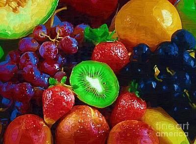 Yummy Fresh Fruit Poster by Deborah MacQuarrie