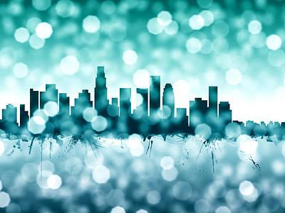 Los Angeles California Skyline Poster by Michael Tompsett