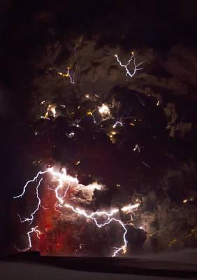 Volcanic Lightning, Iceland, April 2010 Poster by Olivier Vandeginste