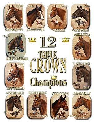 12 Triple Crown Champions Poster by Pat DeLong
