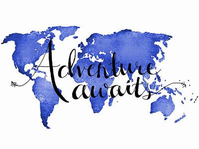 12x16 Adventure Awaits Blue Map Art Poster by Michelle Eshleman