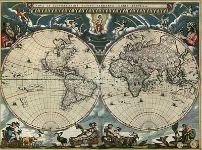 1664 Dutch World Map Is Richly Poster by Everett