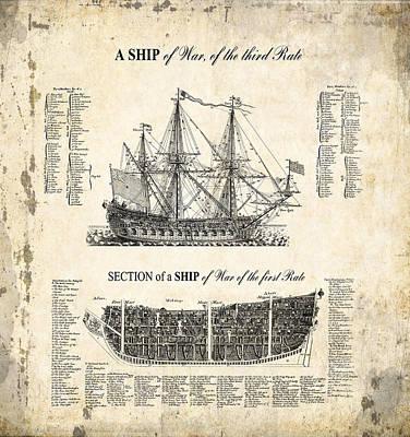 1728 Illustrated British War Ship Poster by Daniel Hagerman