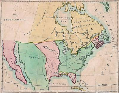 1803 Map Of  North American Showing Poster by Everett