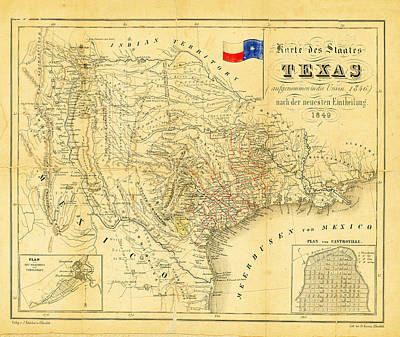 1849 Texas Map Poster by Digital Reproductions