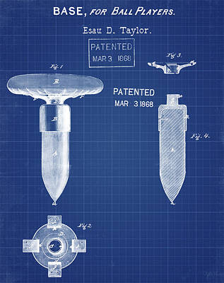 1868 Base For Baseball Players Patent In Blueprint Poster by Bill Cannon