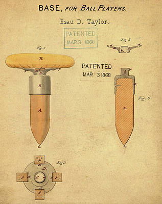 1868 Base For Baseball Players Patent In Sepia Poster by Bill Cannon