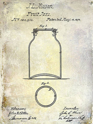 1870 Mason Jar Patent Poster by Jon Neidert
