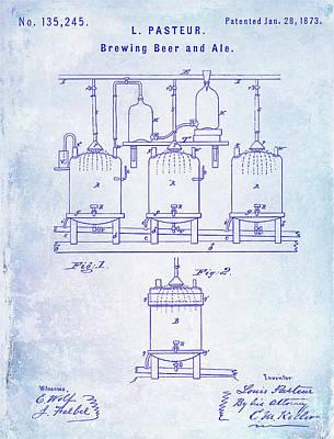 1873 Beer Patent Blueprint Poster by Jon Neidert