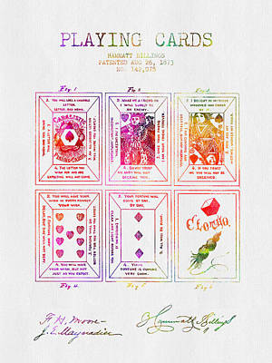 1873 Billings Playing Cards Patent - Color Poster by Aged Pixel