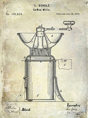 1873 Coffee Mill Patent Poster by Jon Neidert