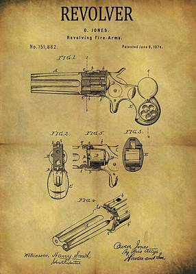 1874 Revolver Patent Poster by Dan Sproul