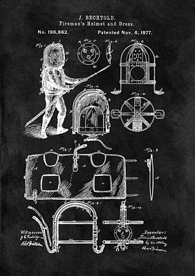 1877 Firefighter's Helmet Patent Poster by Dan Sproul