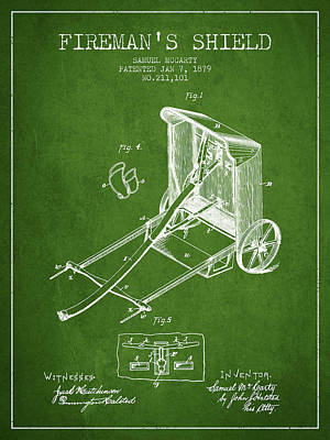1879 Firemans Shield Patent - Green Poster by Aged Pixel