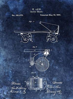 1881 Roller Skates Patent Poster by Dan Sproul