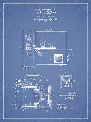 1883 Camera Patent - Light Blue Poster by Aged Pixel