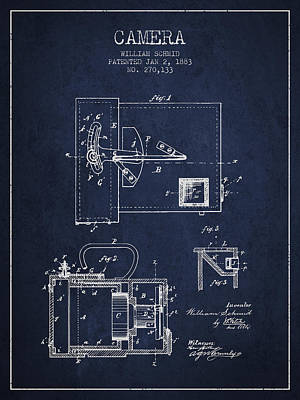 1883 Camera Patent - Navy Blue Poster by Aged Pixel