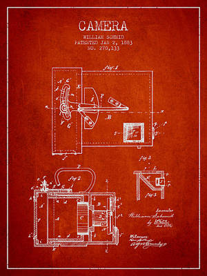 1883 Camera Patent - Red Poster by Aged Pixel