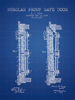 1885 Bank Safe Door Patent - Blueprint Poster by Aged Pixel
