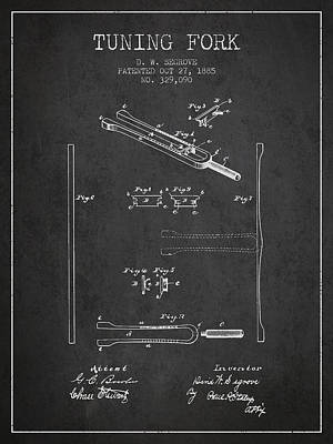1885 Tuning Fork Patent - Charcoal Poster by Aged Pixel