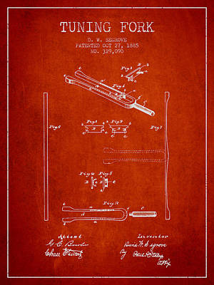 1885 Tuning Fork Patent - Red Poster by Aged Pixel