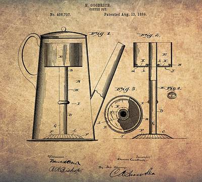 1889 Coffee Maker Patent Poster by Dan Sproul