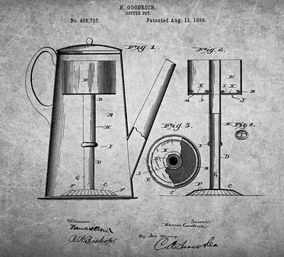 1889 Coffee Pot Patent Poster by Dan Sproul