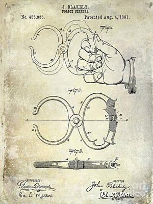 1891 Handcuff Patent Poster by Jon Neidert