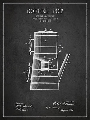 1892 Coffee Pot Patent - Charcoal Poster by Aged Pixel