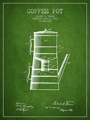 1892 Coffee Pot Patent - Green Poster by Aged Pixel