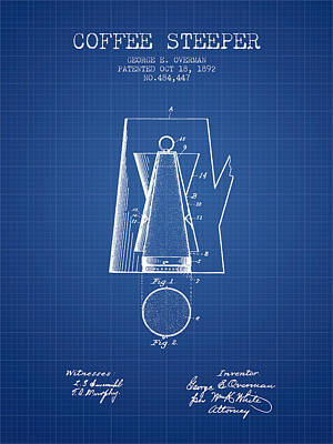 1892 Coffee Steeper Patent - Blueprint Poster by Aged Pixel