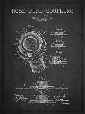 1893 Hose Pipe Coupling Patent - Charcoal Poster by Aged Pixel