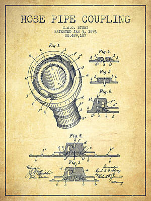 1893 Hose Pipe Coupling Patent - Vintage Poster by Aged Pixel