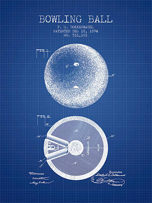 1894 Bowling Ball Patent - Blueprint Poster by Aged Pixel
