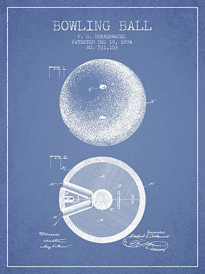 1894 Bowling Ball Patent - Light Blue Poster by Aged Pixel