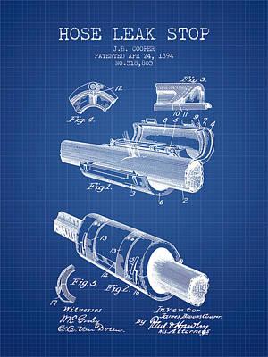 1894 Hose Leak Stop Patent - Blueprint Poster by Aged Pixel