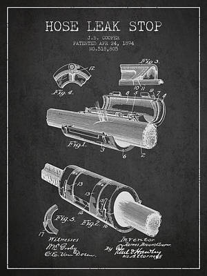 1894 Hose Leak Stop Patent - Charcoal Poster by Aged Pixel