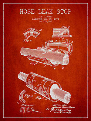1894 Hose Leak Stop Patent - Red Poster by Aged Pixel