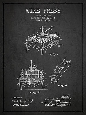 1894 Wine Press Patent - Charcoal Poster by Aged Pixel