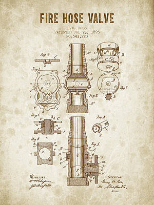 1895 Fire Hose Valve Patent - Vintage Brown Poster by Aged Pixel