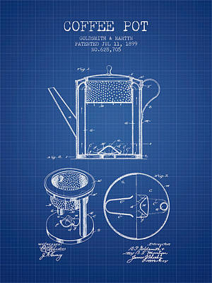 1899 Coffee Pot Patent - Blueprint Poster by Aged Pixel